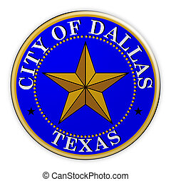 Dallas Seal Badge, 3d illustration on white background