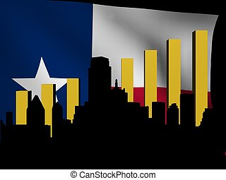 Dallas skyline and graph over Texan flag