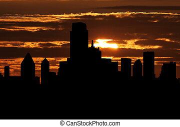 Dallas skyline at sunset illustration