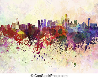 Dallas skyline in watercolor background