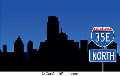 Dallas skyline interstate sign