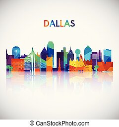 Dallas skyline silhouette in colorful geometric style.