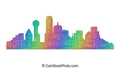 Dallas skyline silhouette - multicolor line art