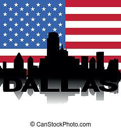 Dallas skyline text flag