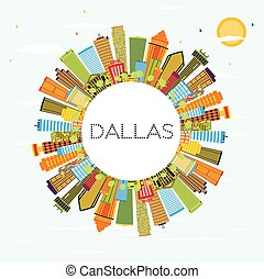 Dallas Skyline with Color Buildings, Blue Sky and Copy Space.