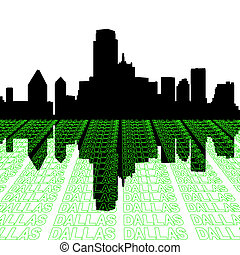 Dallas skyline with text