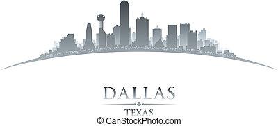 dallas, tejas, perfil de ciudad, silueta, fondo blanco