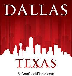 dallas, tejas, perfil de ciudad, silueta, fondo rojo