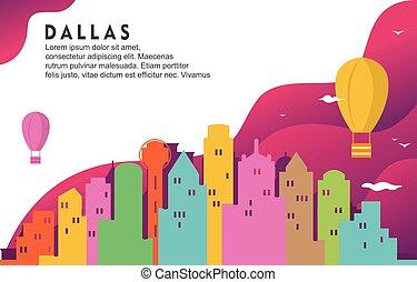 Dallas Texas City Building Cityscape Skyline Dynamic Background Illustration