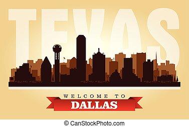 Dallas Texas city skyline vector silhouette