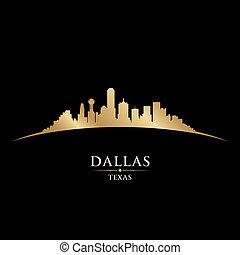 dallas, texas, miasto skyline, sylwetka, czarne tło