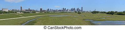 Dallas Texas Skyline Panorama beyond Trinity River