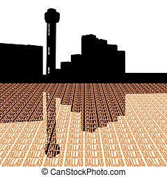 dallas, texto, ilustración, perspectiva, torre reunión