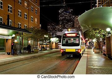 Dallas tram - DART - Dallas public transportation streetcar...