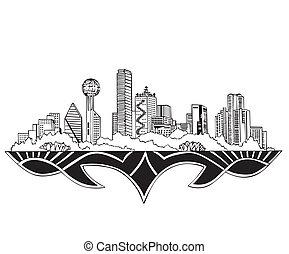 Dallas, TX Skyline. Black and white vector illustration EPS ...
