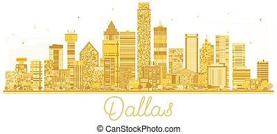 dallas, usa, miasto skyline, złoty, silhouette.