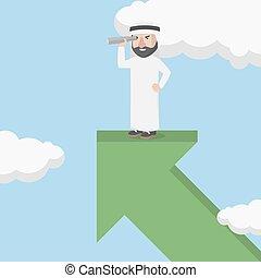 dall'aspetto, arabo, chan, uomo affari