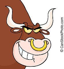 dall'aspetto, arrabbiato, testa, toro
