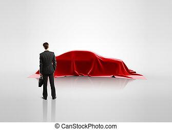 dall'aspetto, automobile, presentazione, uomo