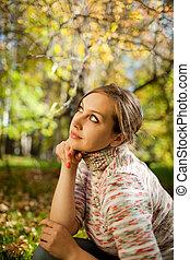 dall'aspetto, autunno, cima, parco, ragazza
