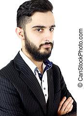 dall'aspetto, bello, uomo, barba