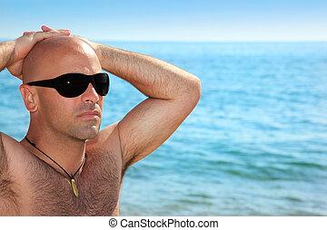 dall'aspetto, buono, spiaggia, uomo