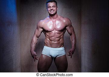 dall'aspetto, calzoncini, muscolare, giù, pugile, bianco, uomo