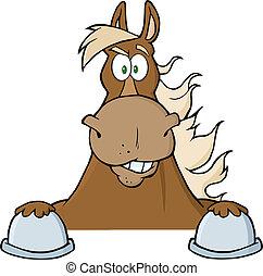 dall'aspetto, cavallo marrone, sopra, segno
