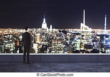 dall'aspetto, città, uomo, notte