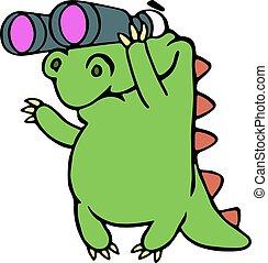 dall'aspetto, dinosauro, attraverso, binocolo