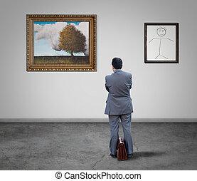 dall'aspetto, dipinti, uomo affari