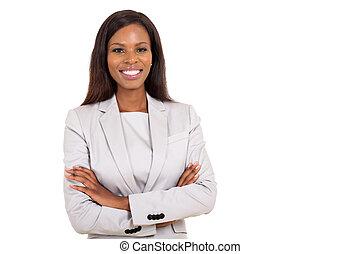 dall'aspetto, donna d'affari, macchina fotografica, giovane, africano