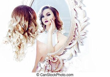 dall'aspetto, donna, vestire, immagine, giovane, alta chiave, ritratto, sexy, specchio., morbido, bianco