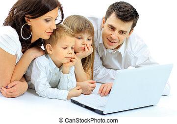 dall'aspetto, famiglia, laptop, letto giù, casa, dire bugie, amare