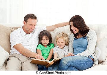 dall'aspetto, foto, famiglia, felice