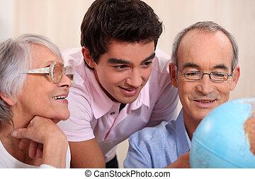 dall'aspetto, globo, genitori, figlio