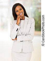 dall'aspetto, macchina fotografica, affari donna, africano