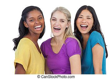 dall'aspetto, macchina fotografica, diverso, ridere, donne