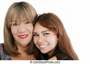 dall'aspetto, macchina fotografica, figlia, lei, madre