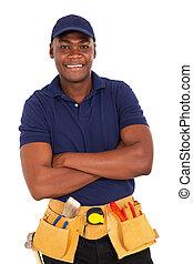 dall'aspetto, macchina fotografica, riparatore, giovane, africano