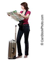 dall'aspetto, mappa, donna, turista, giovane