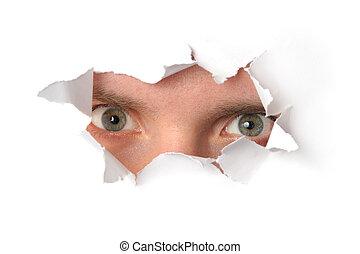 dall'aspetto, occhi, carta, attraverso, buco
