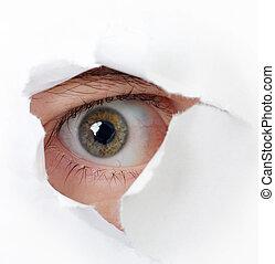 dall'aspetto, occhio, buco, attraverso