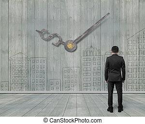 dall'aspetto, orologio, legno, soldi, illustrazione, segno, parete, mani, doodles, uomo, 3d