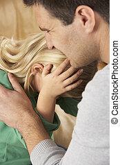 dall'aspetto, padre, figlia, spaventato, ritratto