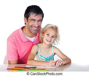 dall'aspetto, padre, macchina fotografica, figlia, disegno
