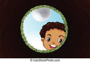 dall'aspetto, ragazzo, buco, golf
