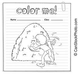 dall'aspetto, ragazzo, mucchio fieno, coloritura, worksheet
