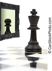 dall'aspetto, re, specchio, pawn., vedere