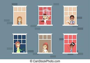dall'aspetto, set., fuori, finestra, persone